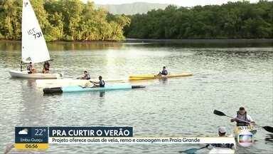 Projeto, em Praia Grande, oferece aulas de vela, remo e canoagem - Todas as atividades são gratuitas e servem para adultos e crianças.