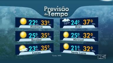 Veja as variações das temperaturas no Maranhão - Segundo a previsão do tempo, a sexta-feira (18) será um dia de instabilidade em todo o estado.