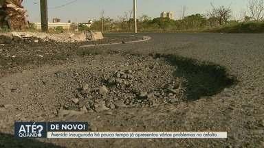 Moradores reclamam de buracos na Avenida Edul Rangel Rabelo em Ribeirão Preto - Inaugurada há pouco tempo, via tem problemas constantes.