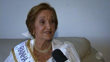 Ex-rainha é coroada como embaixadora da Festa da Uva em Jundiaí - A dona Pompéia, aos 90 anos e esbanjando juventude e beleza, reviveu os tempos de rainha da Festa da Uva.