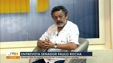 Senador Paulo Rocha (PT) destaca no JT1 projetos importantes para a região oeste do PA - Senador foi entrevistado por Tatiane Lobato nesta sexta-feira (18).