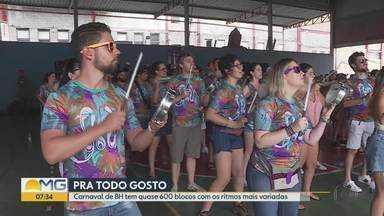 Blocos de carnaval de Belo Horizonte fazem mais um fim de semana de ensaios - A festa promete ser a maior da história da capital mineira, com cerca de 600 blocos de ruas e cinco milhões de pessoas.