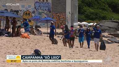 'Xô Lixo': ação na praia de Buracão mobiliza banhistas e barraqueiros - Uma dona de barraca de praia suspendeu o uso de canudos de plástico.