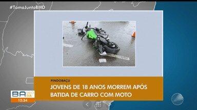 Giro no interior: jovens de 18 anos morrem após batida de carro com moto - Veja também que bandidos arrombaram uma agência bancária.