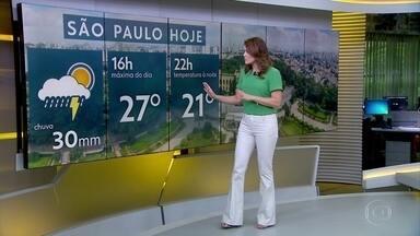 Aniversário de São Paulo tem previsão de temperatura mais baixa e chuva - Temporais já atingem o litoral paulista. Veja quais outras regiões estão no caminho da chuva forte.