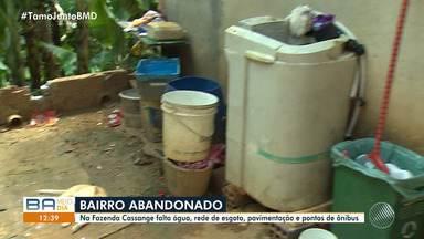 Moradores de Cassange relatam falta de água, esgoto, pavimentação e ponto de ônibus - O problema prejudica para quem reside e precisa fazer as necessidades básicas e também para se locomover.