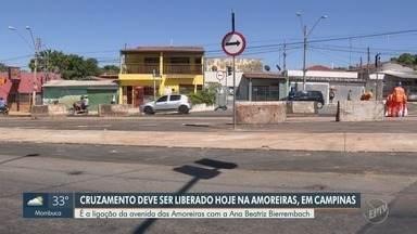 Cruzamento da Av. das Amoreiras é liberado em Campinas - Ligação da Avenida das Amoreiras com a Ana Beatriz Bierrembach, em Campinas (SP), foi liberada após obras do BRT. Porém, novos bloqueios ocorrem em outros trechos da via a partir desta terça-feira (29).