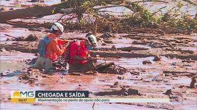 Buscas entraram no sétimo dia nesta quinta-feira - Barragem da Vale se rompeu na sexta passada em Brumadinho, MG; lama destruiu refeitório e prédio da mineradora, pousada, casas e vegetação.