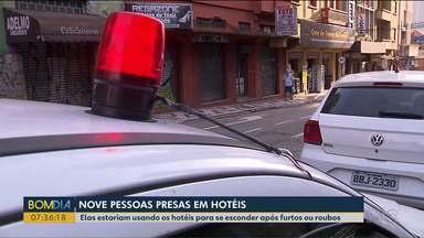 Nove pessoas são presas em hotéis no centro de Curitiba - Elas estariam usando os hotéis para se esconder após furtos ou roubos.
