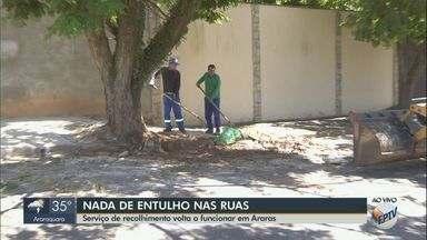 Prefeitura retoma cronograma para recolher entulho das ruas em Araras - Serviço estava interrompido desde o final do ano passado e retornou nesta sexta-feira (1º).