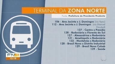 Terminal Urbano começa a funcionar na zona norte de Presidente Prudente - Linhas de ônibus do transporte coletivo embarcam e desembarcam no local.