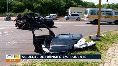 Acidente deixa quatro pessoas feridas em Presidente Prudente - Colisões envolveram três veículos.