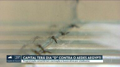 Capital tem dia D contra o Aedes aegypti nesta sábado - Ação da prefeitura inclui busca ativa em casas, cemitérios, parques e borracharias, para acabar com criadouros do mosquito. Postos de saúde e postos volantes estarão vacinando contra febre amarela, uma das doenças transmitidas pelo Aedes aegypti.