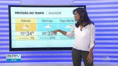 Previsão do tempo: Salvador tem possibilidades de chuvas isoladas durante o fim de semana - Confira também as temperaturas para o período.
