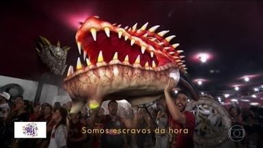 """Samba da Dragões da Real traz pergunta filosófica para o sambódromo em 2019 - A caçula das escolas de samba de São Paulo leva o enredo """"A invenção do Tempo. Uma odisseia em sessenta e cinco minuto"""" para a avenida."""