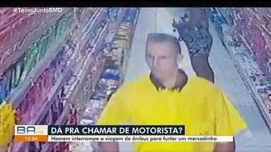 Motorista de ônibus interrompe trajeto para furtar mercadinho em Santa Luzia do Lobato - Crime foi registrado pelas câmeras de segurança do estabelecimento. Caso ocorreu no dia 5 de fevereiro.