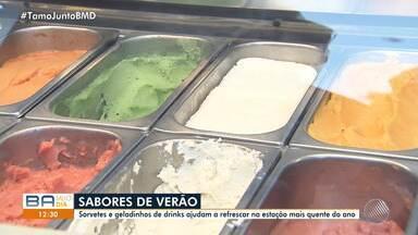 Vendedores e comerciantes comemoram aumento da procura por produtos gelados no verão - Geladinhos, sorvetes, picolés e drinks são opções para aliviar as altas temperaturas na capital baiana.