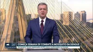 Semana de Mobilização de Combate ao Aedes Aegypti começa na segunda-feira - Agentes de saúde e da Defesa Civil vão visitar moradores da Região Noroeste do Estado. Estradas e parques também vão receber ações de combate à dengue.
