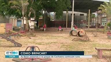 Praças de Cachoeiro de Itapemirim, ES, apresenta problemas e impedem lazer de crianças - Brinquedos estão estragados nos parquinhos das praças da cidade.