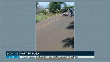 Kart em fuga - Homem é preso em flagrante por pilotar kart em via pública.