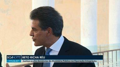 Justiça aceita denúncias do Ministério Público na Operação Integração - O ex-governador Beto Richa, do PSDB, e mais trinta e duas pessoas viraram réus.