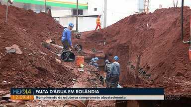 Rompimento de adutora compromete abastecimento em Rolândia - Quase toda a cidade foi impactada com a falta de água.