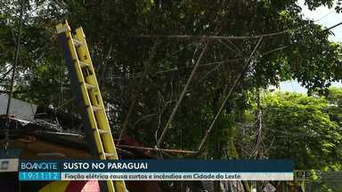 """Fiação elétrica assusta moradores de Cidade do Leste - As """"gambiarras"""" se espalham pelos altos dos prédios."""