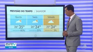 Previsão do tempo: Salvador tem chances mínimas de chuva para esta sexta (14) - Confira o mapa com as temperaturas para a capital baiana.