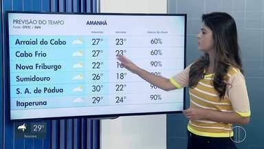 Confira a previsão do tempo no interior do Rio para esta quinta-feira (14) - Assista a seguir.