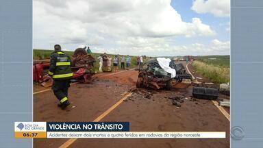 Acidentes deixam dois mortos e quatro feridos em rodovias na Região Noroeste - Um dos acidentes, envolveu caminhões.