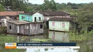 Mais de 700 famílias já foram atingidas pela cheia do Rio Madeira - Nível do Rio Madeira deve voltar a subir e defesa civil prevê mais retiradas.