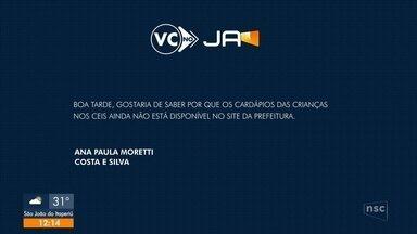 VC no JA: mãe cobra disponibilização de cardápio do CEI - VC no JA: mãe cobra disponibilização de cardápio do CEI