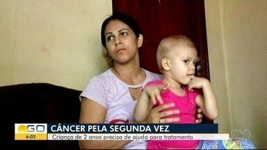 Família precisa de ajuda para conseguir tratamento contra câncer para menina, em Uruaçu - Ela aguarda cirurgia, mas, enquanto isso, precisa seguir com um tratamento e pais não têm dinheiro para custear tudo.