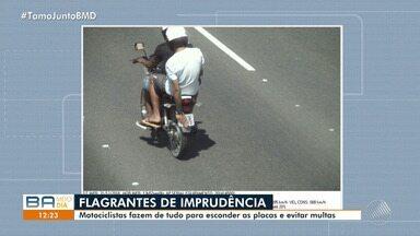 Flagrante: motociclistas escondem placas para cometer infrações e fugir das multas - A reportagem circulou pela cidade e encontrou diversos flagrantes.