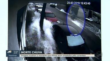 Pai de jovem morta arrastada por enchente denuncia bocas de lobo entupidas em Fraca, SP - Imagens mostram o momento em que Joyce e a mulher dela foram arrastadas pela correnteza.