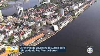 Recife se despede das prévias de carnaval com lavagem simbólica do Marco Zero - Cerimônia Ubuntu é uma consagração ao povo negro e pede bênçãos para o carnaval.