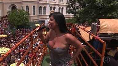 Gretchen anima o carnaval de Belo Horizonte - Carnaval de Belo Horizonte contou com 67 blocos nas ruas e a eterna rainha do rebolado escolheu a capital mineira para arrasar no trio elétrico. Maria Sabrina, filha de Wando, se emocionou em homenagem ao pai.