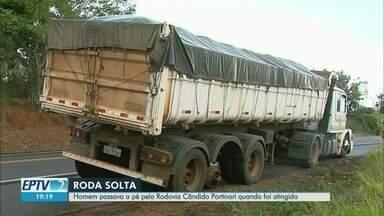 Jovem morre em acostamento após ser atingido por roda solta de caminhão em Pedregulho, SP - Vítima de 20 anos foi surpreendida enquanto caminhava com a namorada às margens da Rodovia Cândido Portinari (SP-334).