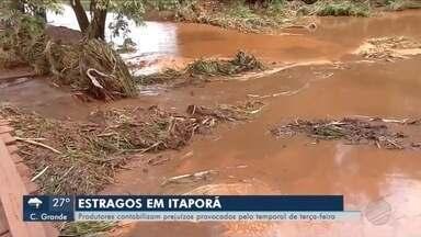 Estragos em Itaporã - Produtores contabilizam prejuízos provocados pelo temporal de terça-feira.