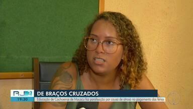 Profissionais da Educação fazem paralisação em Cachoeiras de Macacu, no RJ - Assista a seguir.