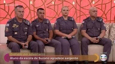 Policiais se emocionam com agradecimento de sobrevivente do massacre em Suzano - Adolescente agradece a ação de sargento, que salvou sua vida na escola Raul Brasil