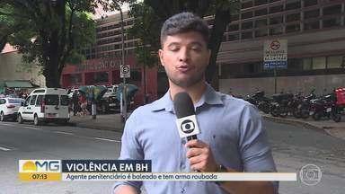 Agente penitenciário é baleado e tem arma roubada em Belo Horizonte - De acordo com a polícia, vítima foi surpreendida por dois homens em uma moto quando saía para trabalhar.