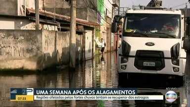 Uma semana depois, moradores de áreas atingidas pela chuva tentam se recuperar - Chuva causou enchentes e estragos na Grande SP na semana passada.