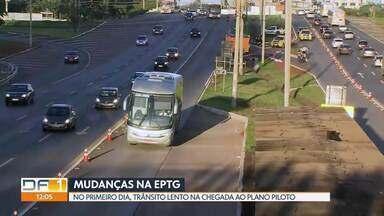 Trânsito lento no primeiro dia de mudanças na EPTG - Ônibus vão trafegar na pista contrária e carros serão liberados para usar faixa exclusiva.
