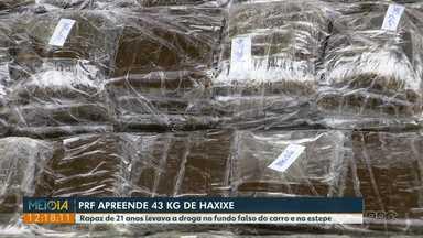 PRF prende jovem transportando 43 kg de haxixe na BR-277 - Ele disse que levaria a droga para Curitiba.