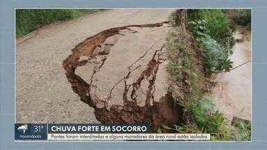 Nove cidades estão em estado de alerta devido chuvas; em Socorro, moradores estão isolados - Chuva forte que atingiu região de Campinas no final de semana gerou reflexos em diversas cidades, e seis delas seguem em estado de alerta.