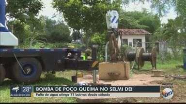 Bomba de poço queima e deixa 11 bairros sem água em Araraquara - Problema afeta abastecimento da região do Selmi Dei.