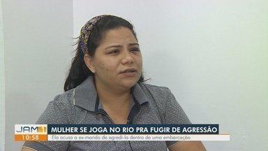 Mulher pula no Rio Negro para fugir de agressões do marido, diz família no AM - Suspeito ainda não foi localizado. Crime ocorreu em embarcação no fim de semana.
