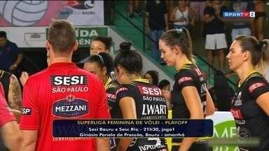 Sesi Bauru enfrenta Sesc Rio nos playoffs da Superliga - A equipe de vôlei feminino do Sesi Bauru joga em casa no Ginásio Panela de Pressão nesta terça-feira às 21h30.