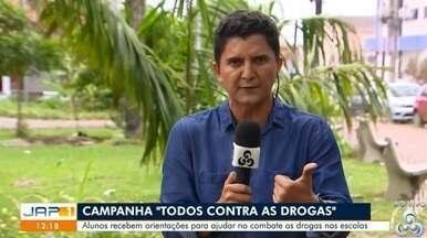 Escolas estaduais da Zona Norte de Macapá lançam campanha 'Todos contra as drogas' - Alunos recebem orientações para ajudar a combates as drogas nas escolas.